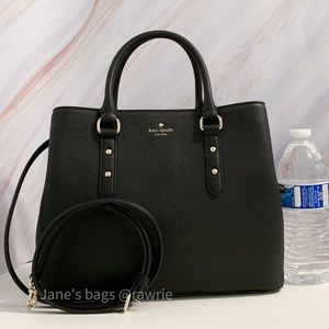 New Kate Spade Black Leather Evangelie Satchel